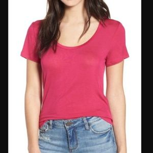 PST by Project Social T Fuchsia Scoop Neck Tee